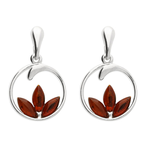 Cognac amber lotus flower set in a circle with stud fitting