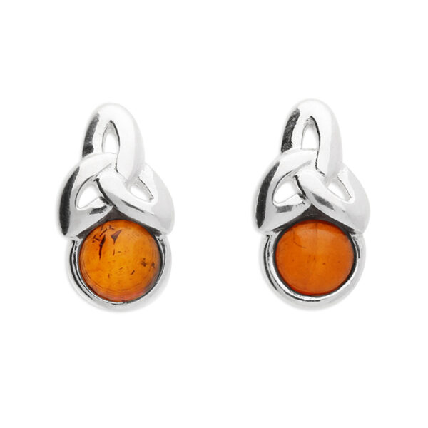 Cognac amber bead with a trefoil knot at the top of earring