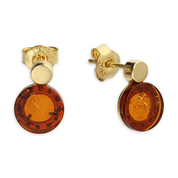 Yellow gold-plated cognac amber double circle stud