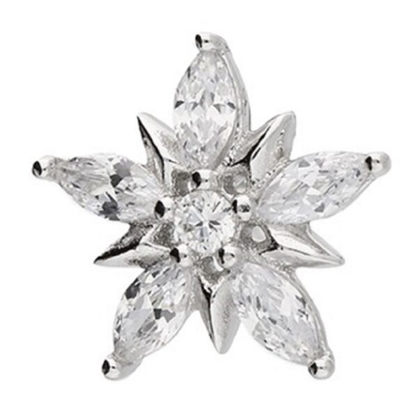 Mens star burst cubic zirconia stud 10mm
