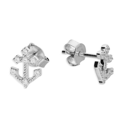 Mens small single cubic zirconia anchor stud 8 x 6mm