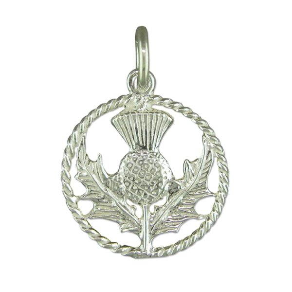 Small scottish thistle in ring pendant 15mm