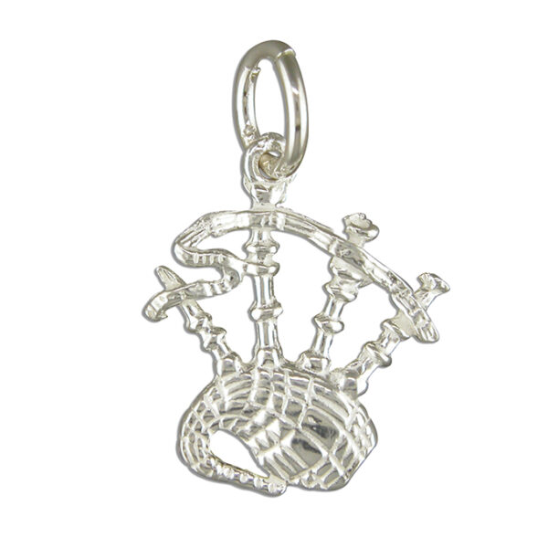 Scottish bagpipes small silver pendant 15mm