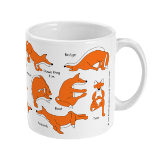 Red Fox Yoga, Yoga Mug Yoga Gifts, Ceramic Mug Countryside Gifts For Fox Lovers Fox Gift, Fox Mindfulness Gift 12FOXYOMUGL