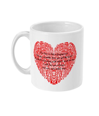 Fingerprint Poem Love Quote Fingerprint Heart Coffee Mug Valentines Gift Anniversary Gift Valentines Day Gift For Him Valentines Day Gift For Her For Him