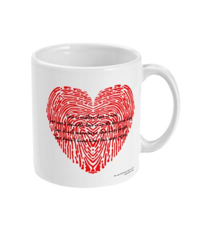 Love Is Love Quote Fingerprint Heart Coffee Mug Valentines Gift Anniversary Gift Valentines Day Gift For Him Valentines Day Gift For Her For Him