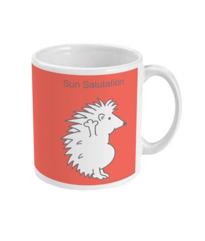 Hedgehog Yoga Pose Mug – Funny Sun Salutation Pose 11 floz Coffee Mug