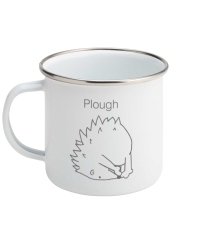 Yoga Hedgehog Plough Pose – Enamel Coffee Mug 11oz
