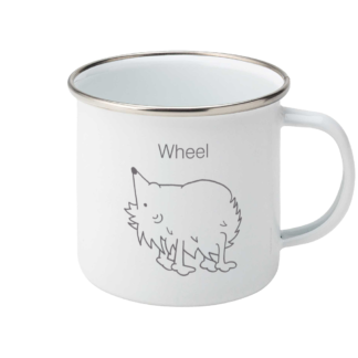 Yoga Hedgehog Wheel Pose – Enamel Coffee Mug 11oz