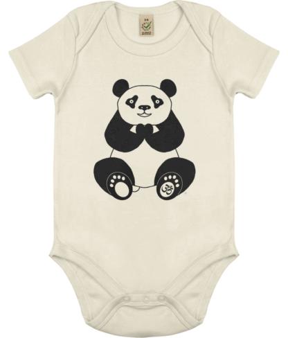 Unisex Peace Panda Om Bodysuit Organic Cotton (Newborn -18 months) ecru