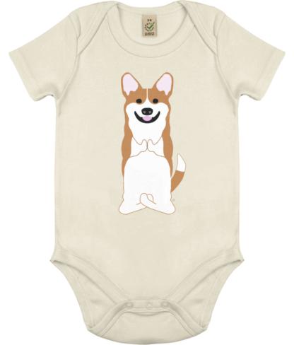 Unisex Yoga Corgi Bodysuit Organic Cotton (Newborn -18 months) ecru