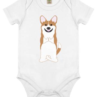 Unisex Yoga Corgi Bodysuit Organic Cotton (Newborn -18 months) white