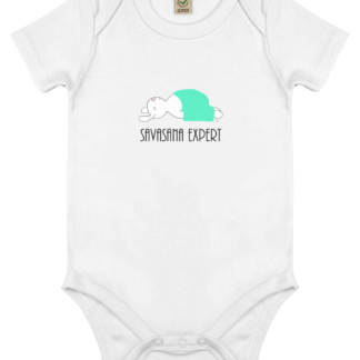 Unisex Yoga Rabbit - Bunny Savasana Bodysuit Organic Cotton (Newborn -18 months) white