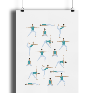 Yoga-Poses-Poster-Giclee-Art-Print-Women-in-Teal-Yoga-Wall-Art YOWOCPOSTER