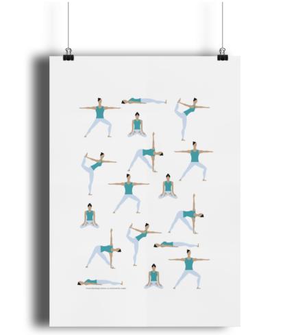 Yoga-Poses-Poster-Giclee-Art-Print-Women-in-Teal-Yoga-Wall-Art YOWOCPOSTER