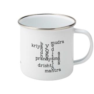Kundalini Yoga Elements Crossword Enamel Mug ( Y_ELE_CROSSWORD_ENA)