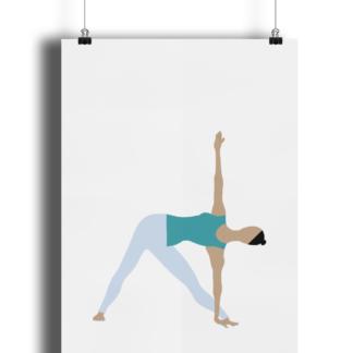 Triangle Pose Yoga Poster Print Woman Giclee Art Print Matte