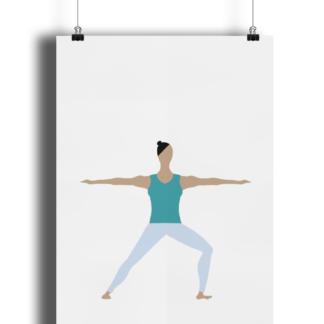 Yoga Pose Poster Print Giclee Art Print Matte Finish Warrior 2 Pose Y_WAR2_POSTER