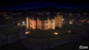 Alnwick Castle drone photo at night
