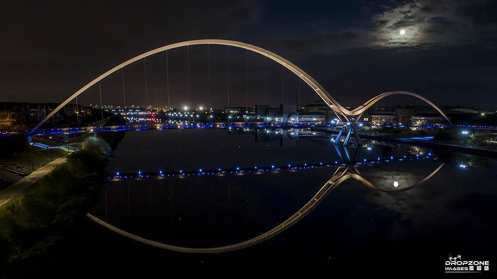 Stockton infinity bridge by drone. CAA PfCO A2 CofC operator Newcastle and Teesside