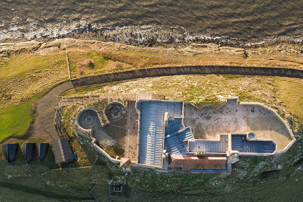 Holy Island, Lindisfarne Castle straight down by drone operator. National Trust approved