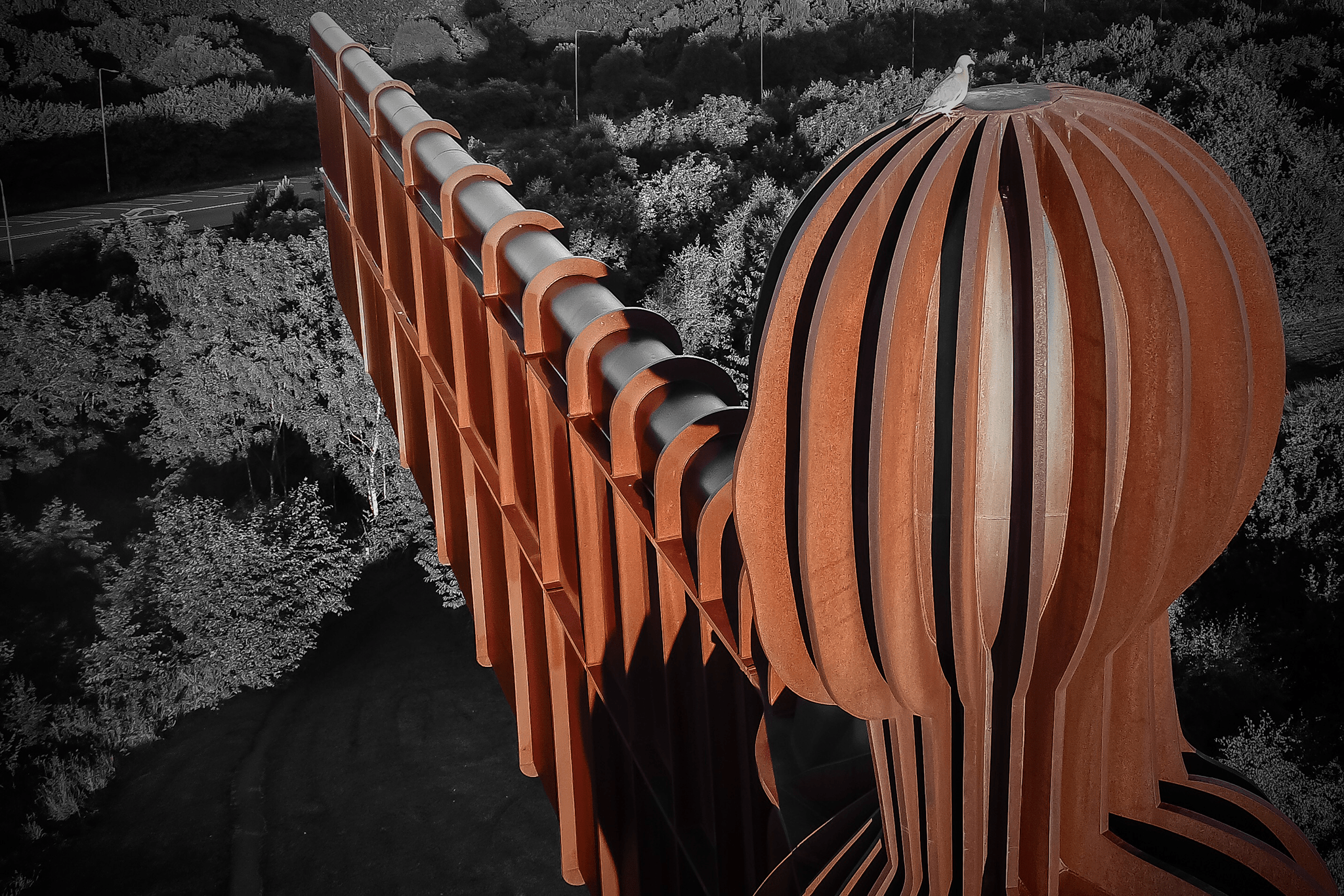 Drone image of the angel of the north. North East England