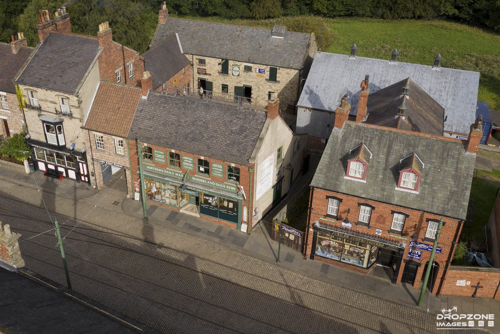Aerial view by drone over Beamish museum. Historic sight from the skies