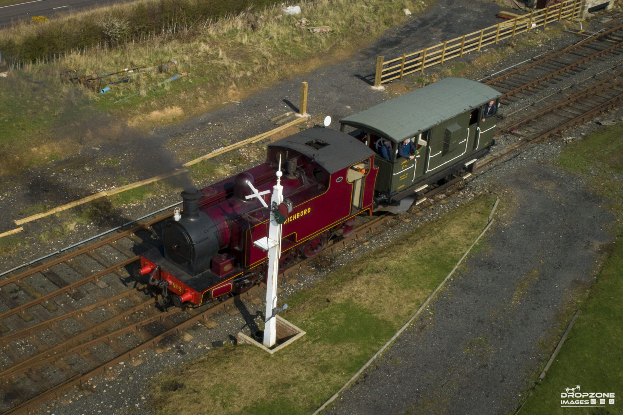 Historic steam engine by drone in Alnwick. Approved and licensed drone operator, Northumberland