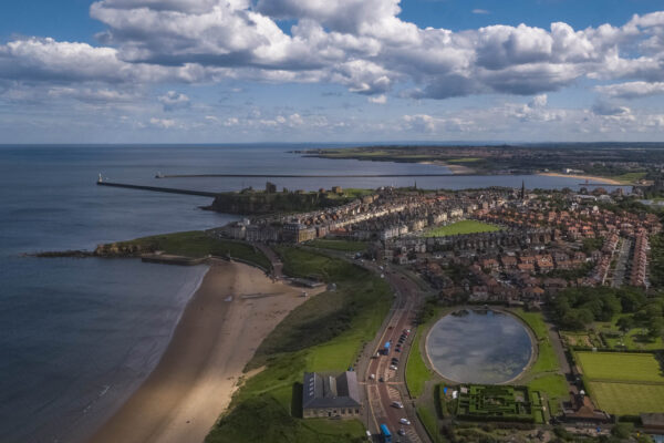 Aerial view of Tynemouth. Local CAA PFCO Drone operator for hire