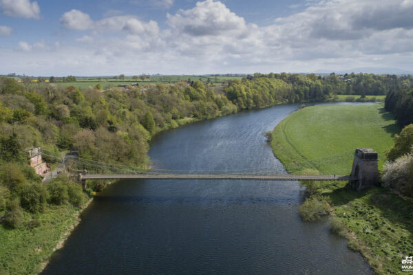 Drone view of bridge over the Scotland and England border. CAA Approved drone pilot