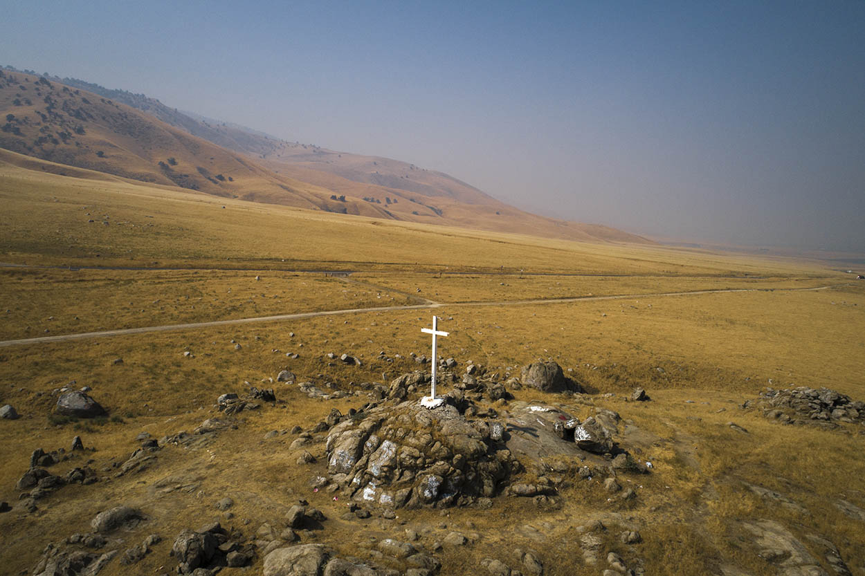 Drone images in the USA. California aerial view of memorial site