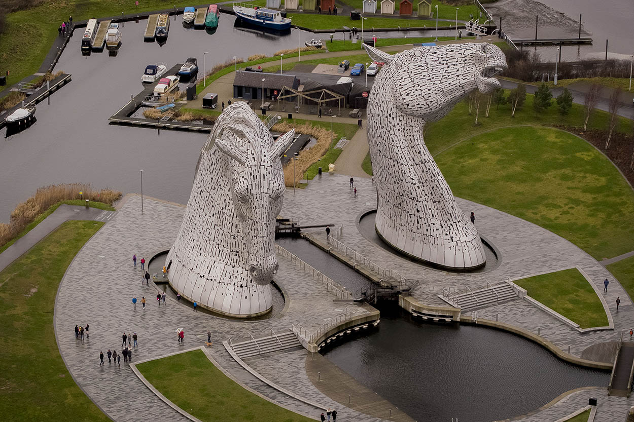 Kelpies in Falkirk, Scotland by drone. Safe drone operator legally compliant