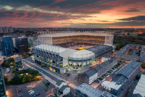 drone photography newcastle st james park drone photo. Sunset over stadium images