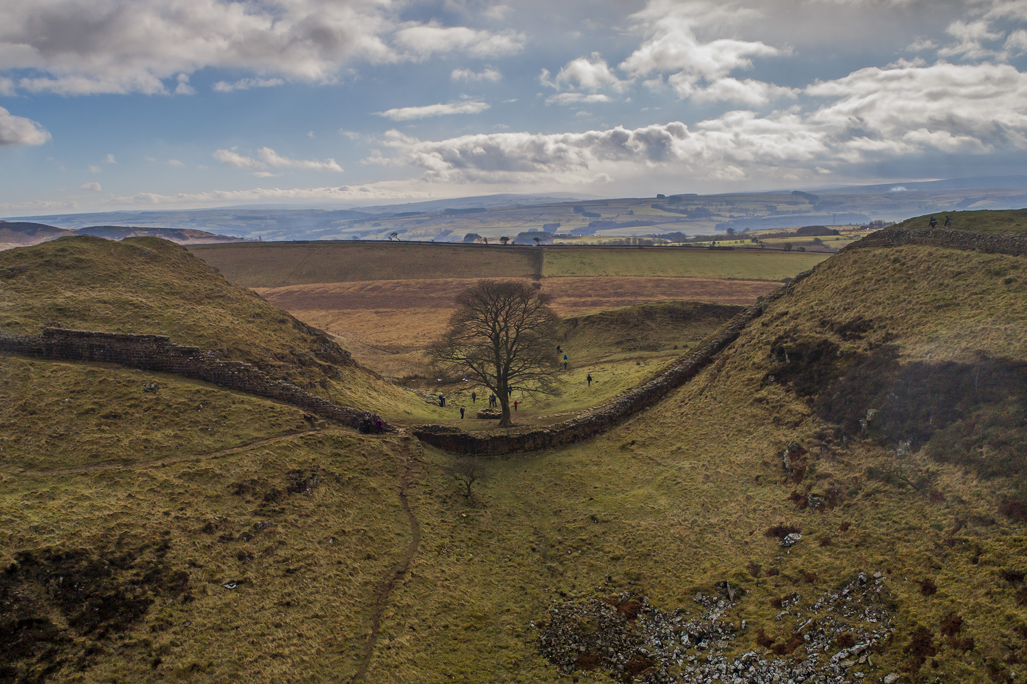 Sycamore Gap, Hadrians wall Northumberland taken by drone pilot from Newcastle
