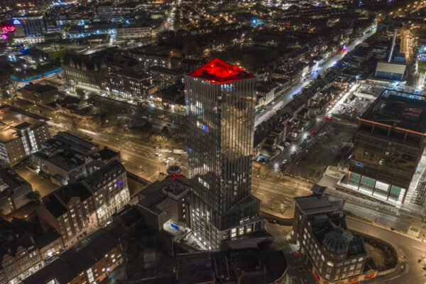 Drone image at night of Hadrians Tower Newcastle
