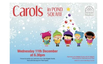 Carols in Pond Square Wednesday 11th December 6:30pm