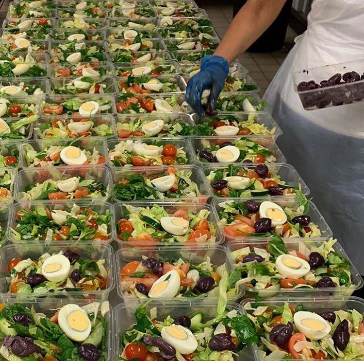 picture of a line of salads