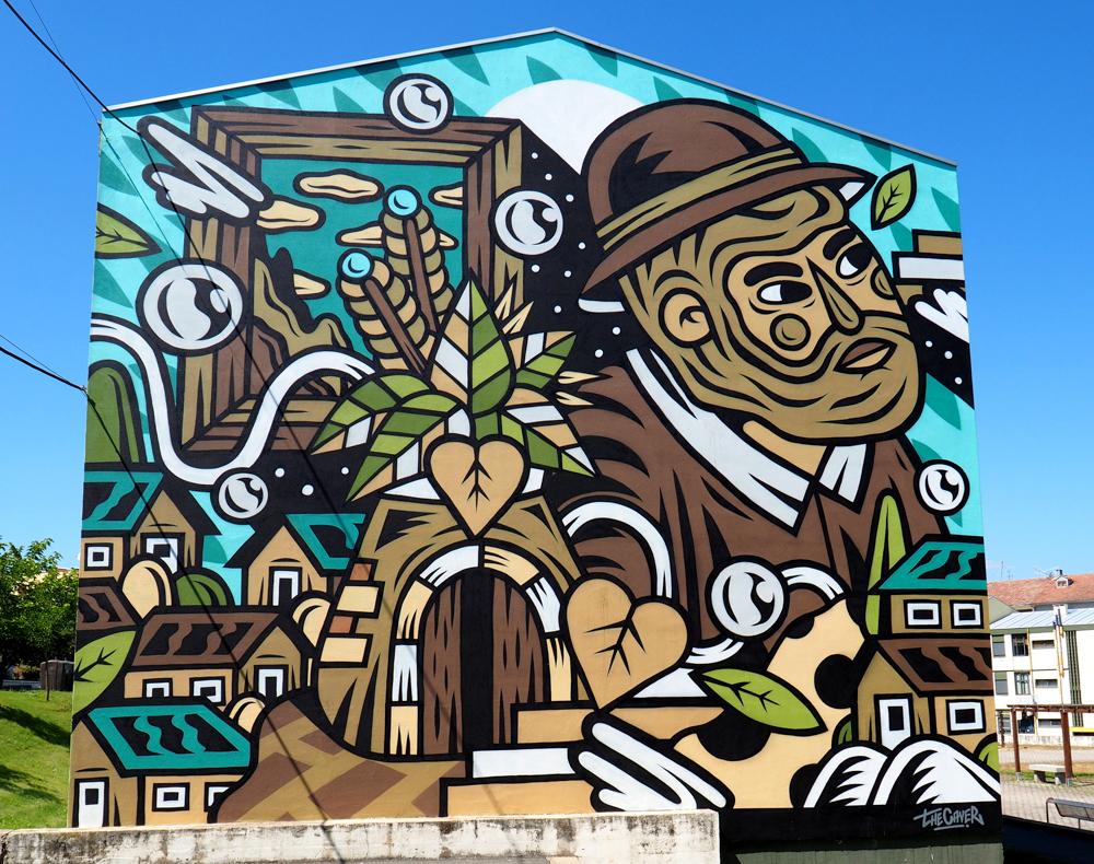 Mural zeigt einen Mann