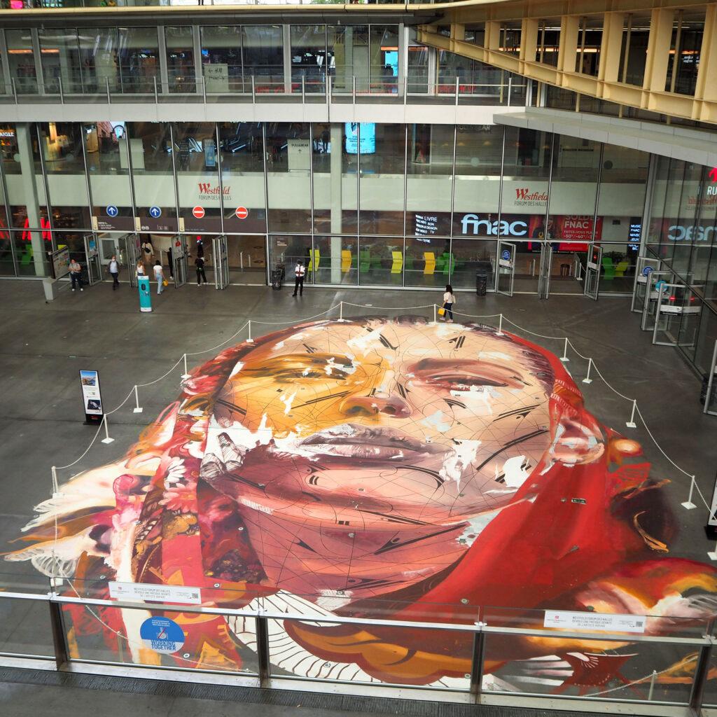 Portrait auf dem Boden von Les Halles