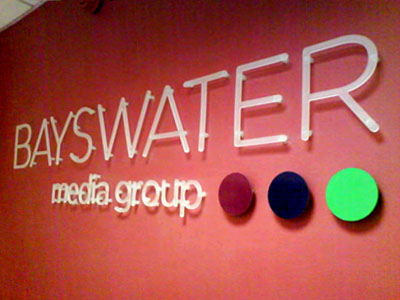 Bayswater Media Group Built up letters made and installed by www.e-signs.co.uk perspex letters on locators www.e-signs.co.uk
