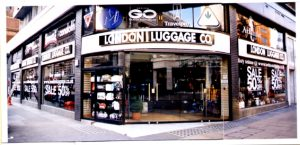 London Luggage sign on Oxford Street internally Illuminated Fascia Signs by E-Signs London with Super Bright 110 Lumen LEDS with 5 year warranty within 3D Perspex letters & powder coated aluminium sign by www.e-signs.co.uk