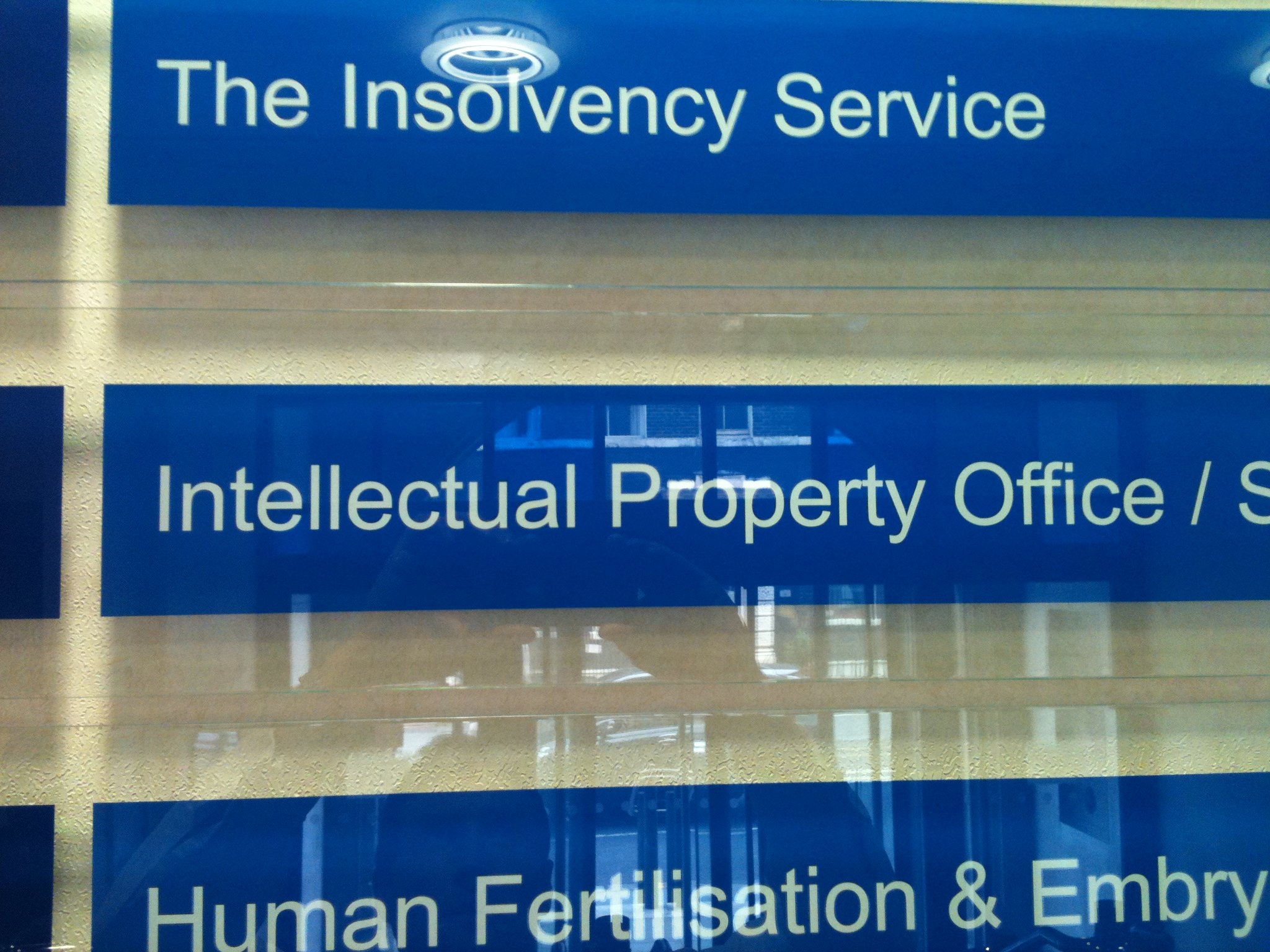 Intellectual Property Office main sign vinyl sign sticker by www.e-signs.co.uk Call us today for a competitive quote to design, make and Install frosted vinyl, tinted window film, cut vinyl sign stickers and digital printed vinyl.