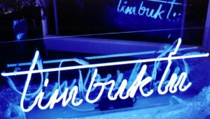 neon Signs blue neon Timbucktu made for Selfridges by www.e-signs.co.uk for Selfridges