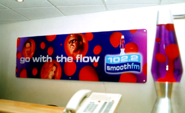 Built up letters made and installed & Digital Print onto clear perspex Smooth FM London www.e-signs.co.uk