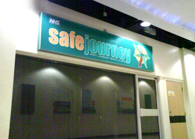 illuminated sign fascia & Built up letters made and installed by www.e-signs.co.uk for safe Journey