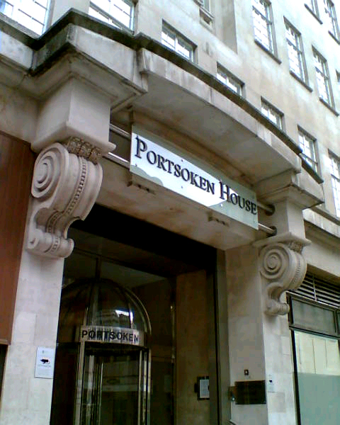 portsoken house Glass internally Illuminated Fascia Signs by E-Signs London with Super Bright 110 Lumen LEDS with 5 year warranty within 3D Perspex letters & powder coated aluminium sign by www.e-signs.co.uk