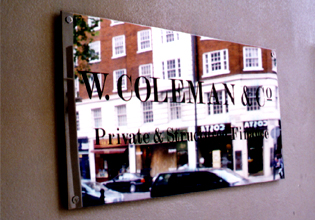 W.Coleman & Co private ans structured finance plaque email Wealth Managers repeatedly invest in E Signs ® www.e-signs.co.uk