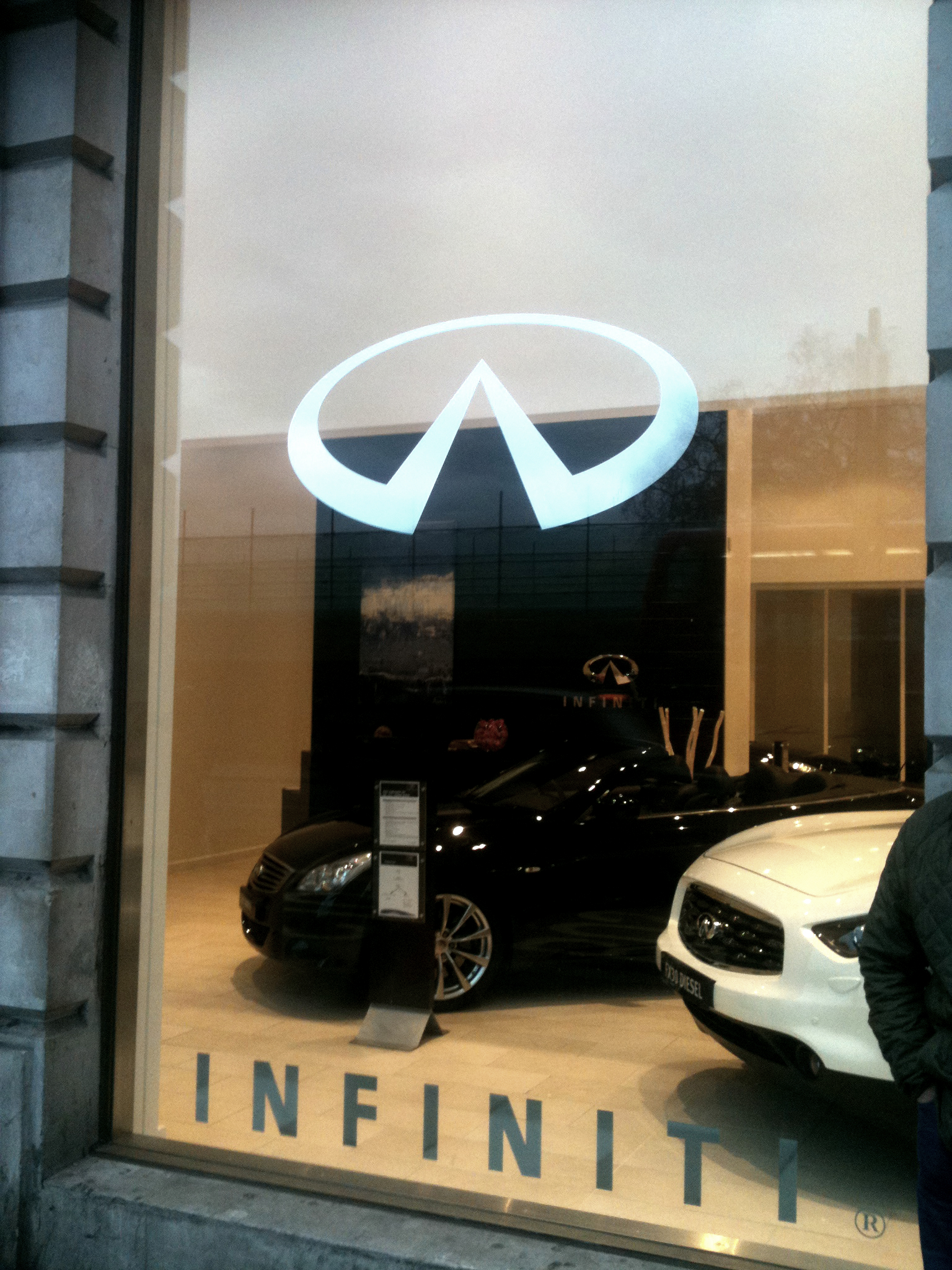 Illuminated Fascia Infiniti signs London installed by E Signs ® www.e-signs.co.uk