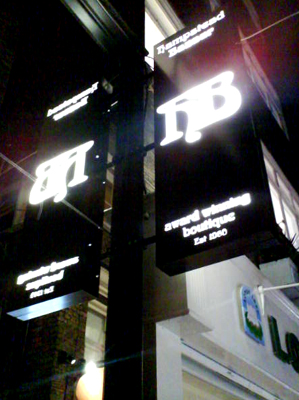 Internal Signs Illuminated Fascia Hampstead Bazaar E Signs ® London Lightbox sign www.e-signs.co.uk