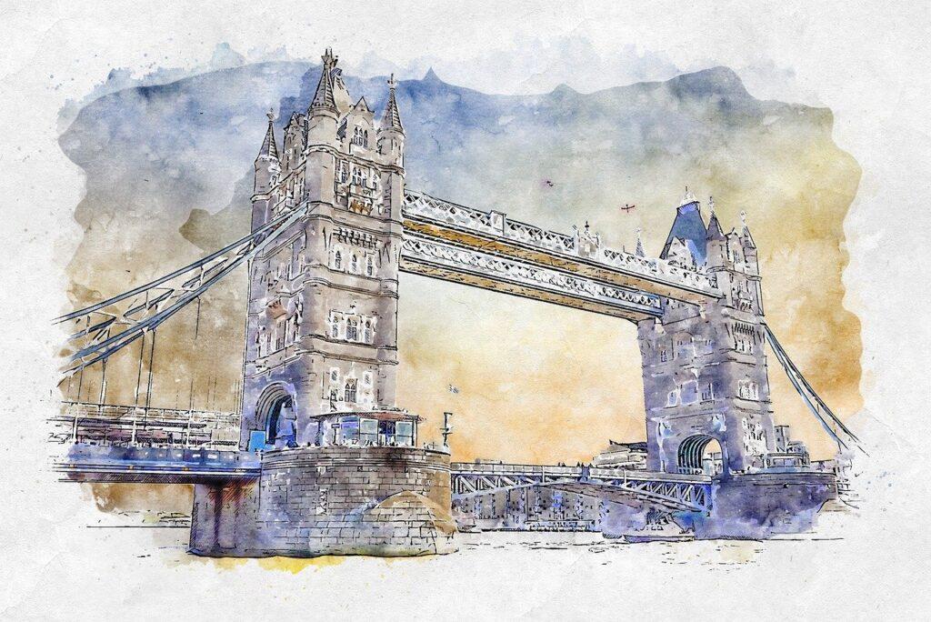 bridge, river, photo art